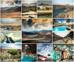 collage of picturesque views and sights of Lanzarote in Canary islands, Spain