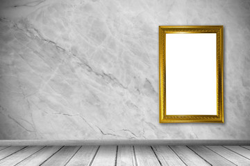 Blank photo frame at the wall