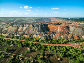 beautiful landscape with multicolored rock dumps from quarries, aerial photo