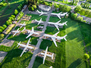 top view of old airplanes exhibition, aerial, photo