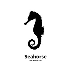 Vector illustration silhouette of a sea horse