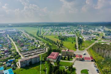 Borovskiy, Russia - July 29, 2016: Aerial view onto poultry farm