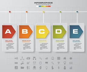 Obraz Vector illustration infographic timeline of 5 options. EPS10. - fototapety do salonu