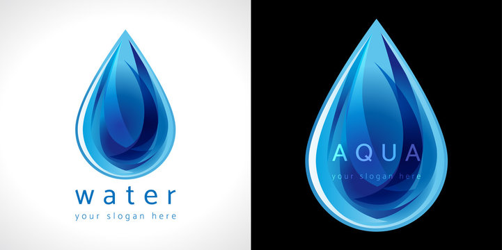 Water drop icon. The logotype for aqua protection or water delivery.