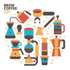Brew Coffee, Flat Design, Illustration