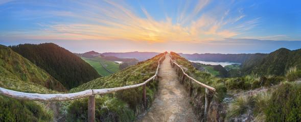 Fototapeta Mountain landscape with hiking trail and view of beautiful lakes, Ponta Delgada, Sao Miguel Island, Azores, Portugal obraz