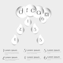 Vector illustration infographic dream Image infographic dream of a white cloud of a circle and a drop style paper with numbers on light background