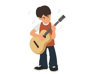 Boy playing guitar.