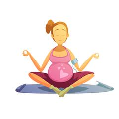 Pregnancy Yoga Exercises Retro Cartoon Poster