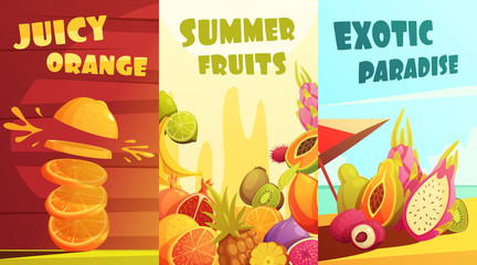 Exotic Fruits Vertical Banners Cartoon Poster