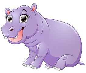 Happy hippo cartoon sitting
