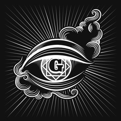Egypt god eye or spiritual eye vector