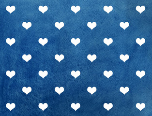 White hearts on dark blue watercolor background.