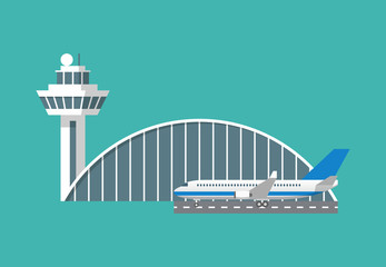 International airport building with control tower and plane icon. Infographic element. Flat design vector illustration