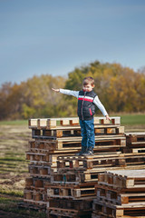 Little boy standing on pallets in a large field autumn
