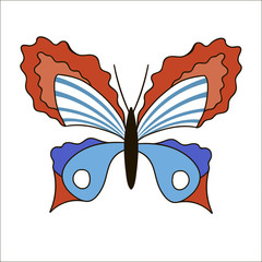 Cute cartoon butterfly isolated on white background