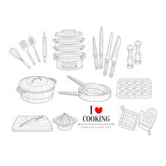 Cooking Related Clipart Objects Hand Drawn Realistic Sketch