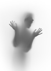 Scary screamy face silhouette, hands, fingers, head behind a curtain