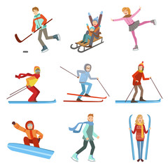 People Doing Winter Sports Illustration Set