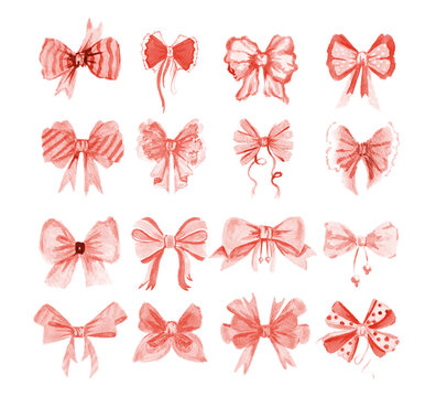 Watercolor bow set. Different red or pink bows and ribbons for holidays, greeting and celebration as Christmas, birthday, Valentines day and wedding.