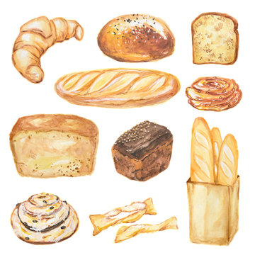 Watercolor bread set. Different kinds of bread as baguette, loaf, cake. Protein and whole grain nutrition.