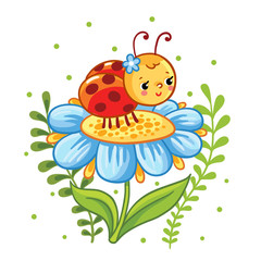 Vector illustration in cartoon style. Ladybug sitting on a flower. Cute insect in the flowers.