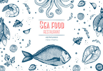 Vintage sea food frame vector illustration. Hand drawn with ink. Vintage design template.