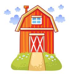 Farm. Cute cartoon house on the meadow against the background of the cloudy sky. Vector illustration.