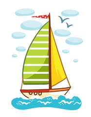Vector illustration of a sailboat on the sea. Ship with a flag floating on the water on a background of clouds. Picture in cartoon style.
