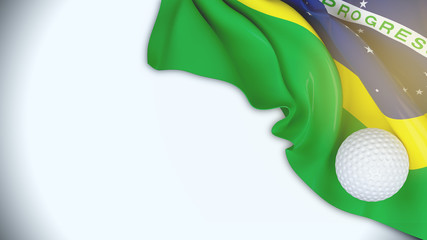 Brazil flag with Golf ball on copy space for text over white  background,3D illustration