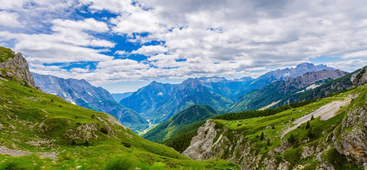 Landscape of mountains on cloudy day in summer