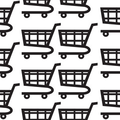 Shopping cart icon seamless pattern on white background. Vector Illustration