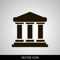 University icon vector, solid illustration, pictogram isolated on grey