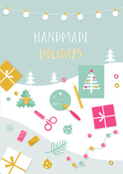 Handmade Holidays Card. Tools, Crafts and Christmas Gifts