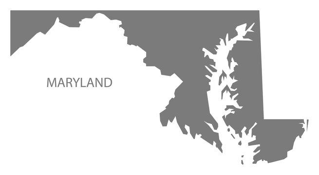 Maryland USA Map grey