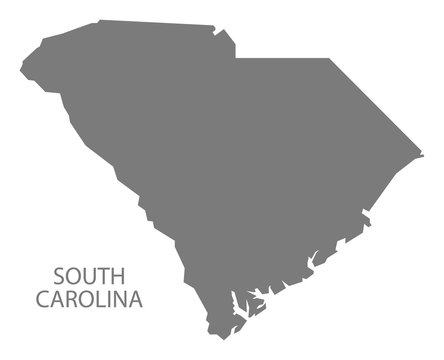 South Carolina USA Map grey