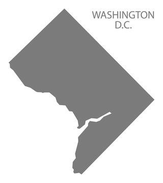 Washington DC USA Map grey