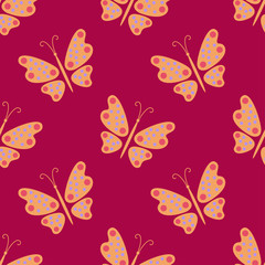 Seamless pattern. Butterfly on a red background.
