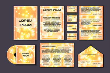 Corporate template set with glowing abstract layout. Vector company style for brandbook and guideline.