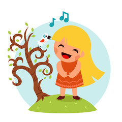 Little Happy Girl Sing Bird Tree Symbol Smiling Child Icon Concept Isolated Flat Design Vector Illustration
