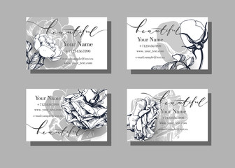 Floral vector visiting or business card template Blooming roses.Template Vector.
