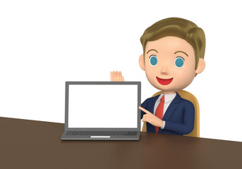 3D illustration character - The small business man who talks while showing a note PC.