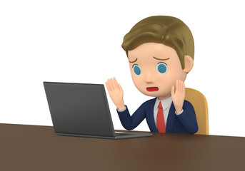 3D illustration character - The small businessman who looks at note PC and is in trouble.