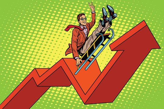 Businessman on a sled, up arrow chart sales
