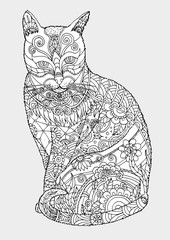 Cat zentangle by hand drawing.Cat tattoo on white background.