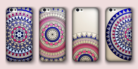 Phone cover collection, boho style pattern. Vector background. Vintage decorative elements. Hand drawn . Islam, arabic, indian, ottoman motifs.
