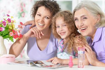 happy family with nail polish