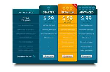 Pricing plans template for websites and applications