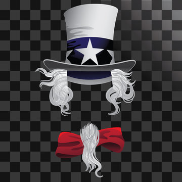 Uncle Sam hat with hair beard and bow tie. EPS 10 vector.