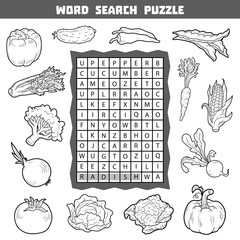 Vector colorless crossword about vegetables. Word search puzzle